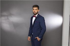 חליפת חתן: קולקציית 2019, חליפת שלושה חלקים, חליפה בגזרה ישרה, חליפה בדוגמה חלקה, חליפה בצבע כחול - בוקה