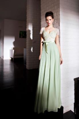 שמלת ערב ירוקה עם שרוול קצר