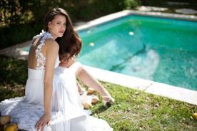 שמלת כלה משיפון עם גב מקושט בפרחים