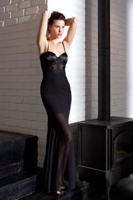 שמלת ערב שחורה קלאסית שקופה