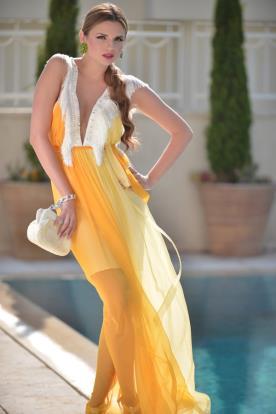 שמלת ערב אורגנזה כתומה
