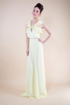 שמלת ערב מקסי צהבהבה