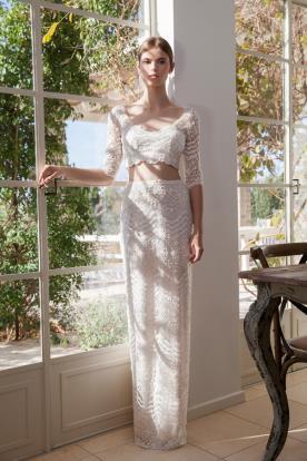 שמלת כלה שני חלקים בשילוב חרוזים