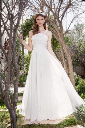 שמלת כלה עם טופ תחרה וחצאית משי