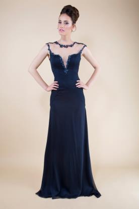 שמלת ערב בצבע נייבי עם מחשוף