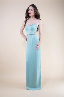 שמלת ערב מקסי בצבע תכלת