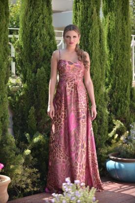 שמלת ערב מנומרת ורודה