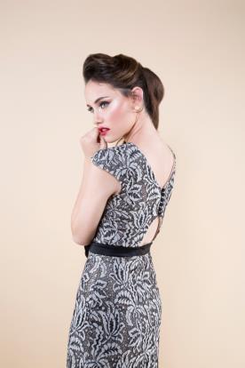 שמלת ערב תחרה אפורה