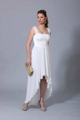 שמלת כלה כפרית אסימטרית