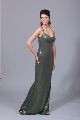 שמלת ערב נצנצים ירוק זית
