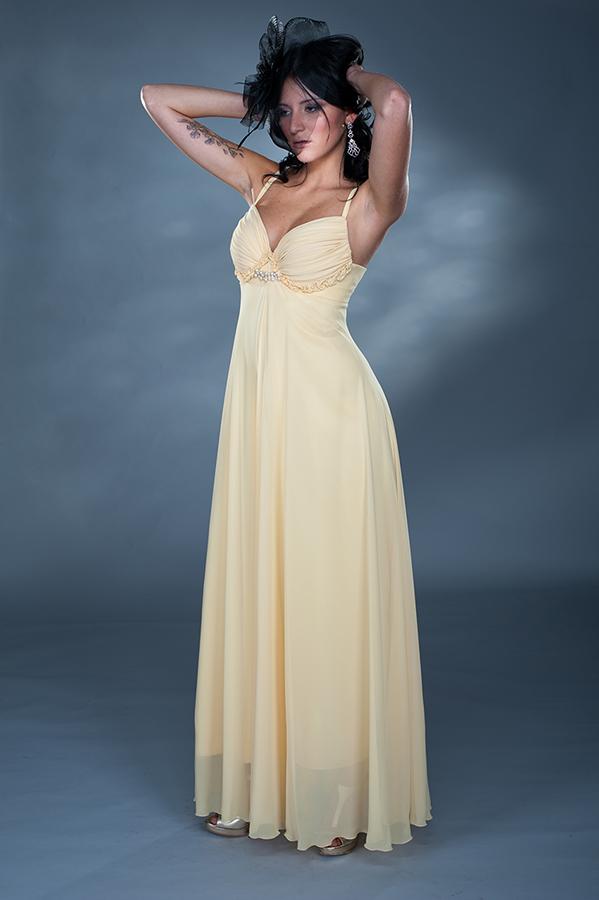 שמלת ערב מקסי כיווצים בחזה