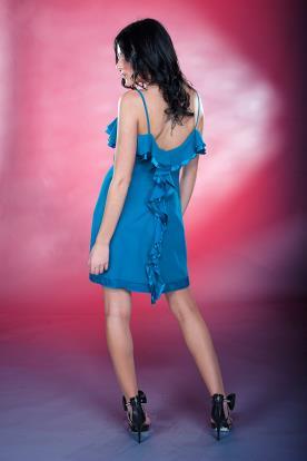 שמלת ערב גב פתוח וקפלים קצרה