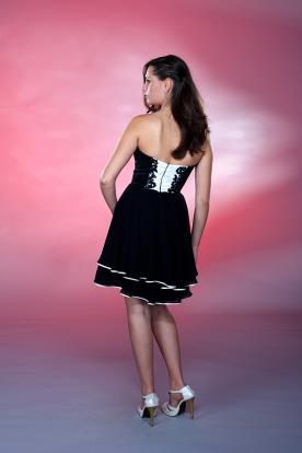 שמלת ערב שחור לבן קצרה