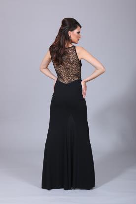 שמלת ערב שחורה גב רשת