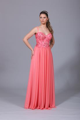 שמלת ערב עם אבנים וחרוזים