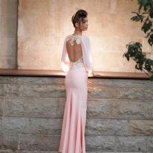 שמלת ערב בצבע ורוד עתיק עם גב פתוח