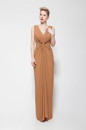 שמלת ערב עם כיווצים בצבע חרדל