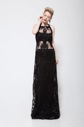 שמלת ערב שחורה שקופה