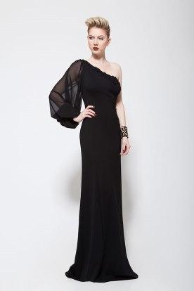 שמלת ערב אסימטרית שחורה