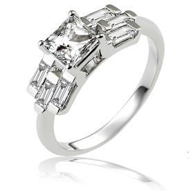 טבעת אירוסין: תכשיט לאישה, תכשיט עם יהלומים, תכשיט מזהב לבן, תכשיט בסגנון רחב, יהלומים - ג'קסון עיצובים