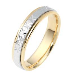 טבעת נישואין זהב צהוב ולבן מרוקע