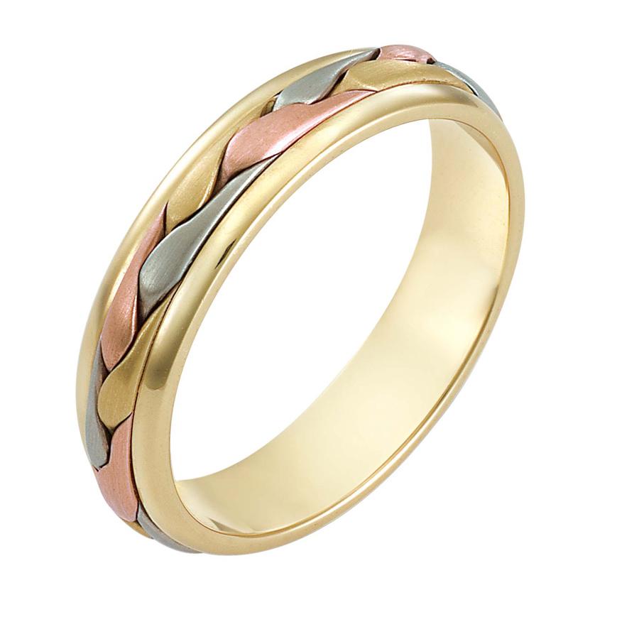 טבעת נישואין צמה בשלושה צבעים