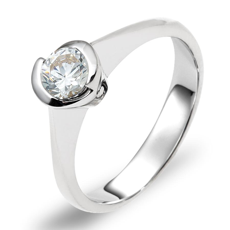 טבעת אירוסין יהלום מוקף זהב