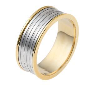 טבעת נישואין פסים בזהב לבן