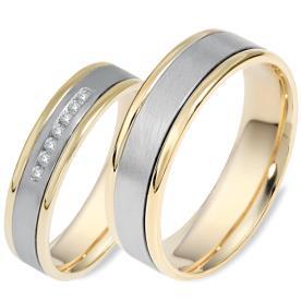 טבעות לזוג זהב לבן ופסי זהב צהוב