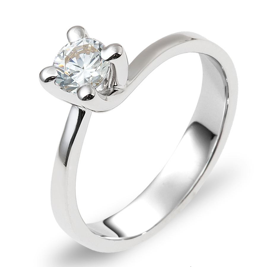 טבעת אירוסין סוליטייר אסימטרית