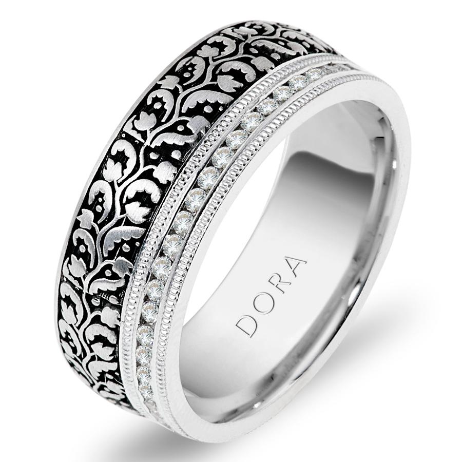 טבעת נישואין בדוגמת עלים ופרחים
