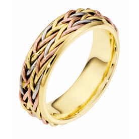 טבעת נישואין זהב צהוב לבן ואדום