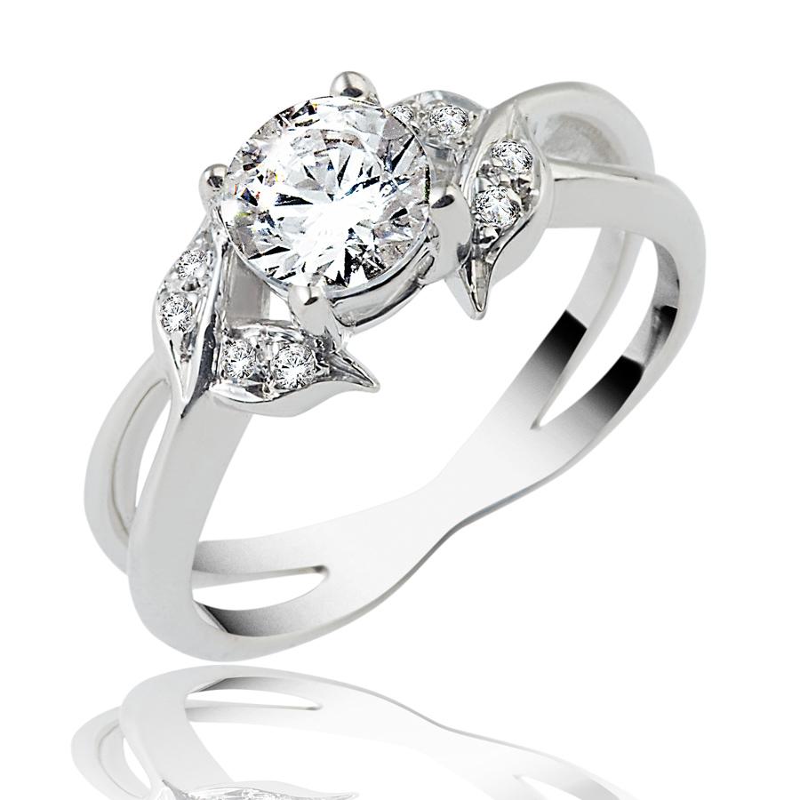 טבעת אירוסין רחבה עם עלים