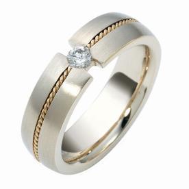 טבעת נישואין יהלום וצמה