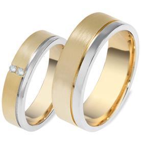 טבעות לזוג זהב צהוב ופס זהב לבן