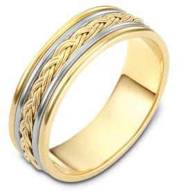 טבעת נישואין זהב לבן וצהוב וצמה
