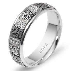 טבעת נישואין פרחים ויהלומים