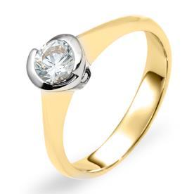 טבעת אירוסין עדינה זהב צהוב ולבן