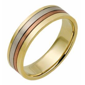 טבעת נישואין פס זהב אדום באמצע
