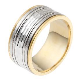 טבעת נישואין רחבה זהב לבן וצהוב