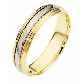 טבעת נישואין עדינה זהב צהוב ולבן
