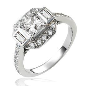 טבעת אירוסין מרובעת רחבה