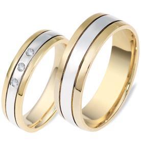 טבעות לזוג שלושה יהלומים לכלה