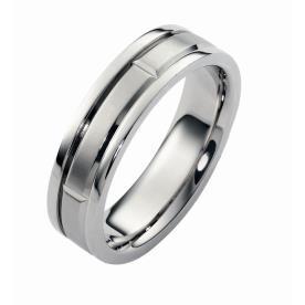 טבעת נישואין גיאומטרית מזהב לבן
