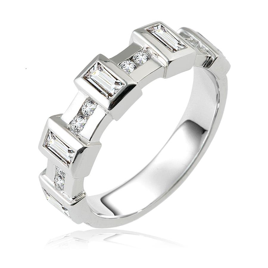 טבעת אירוסין יהלומים מלבניים