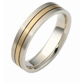טבעת נישואין זהב לבן וצהוב מאט