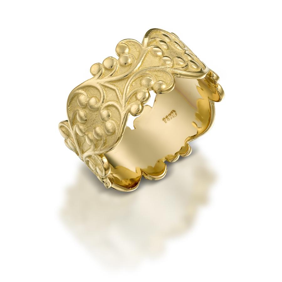 טבעת נישואין וינטאג' עיטור עלים