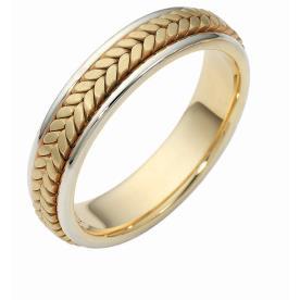 טבעת נישואין זהב צהוב עם צמה