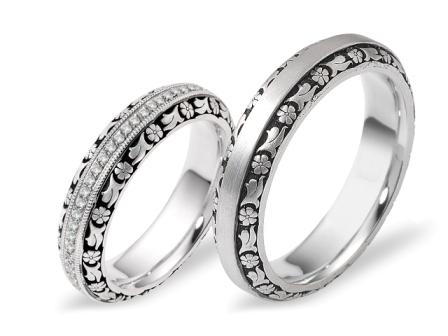 טבעות לזוג הטבעות בסגנון בארוקי