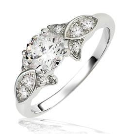 טבעת אירוסין בדוגמת עלים